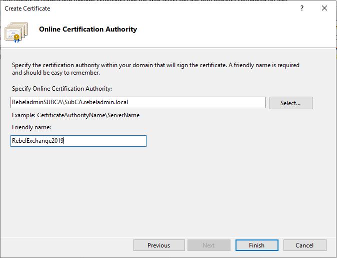 CA Certificate Server مورد نظر انتخاب کنید.
